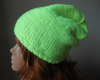 Hand Knit Slouchy Beanie Hat Acrylic Neon Yellow