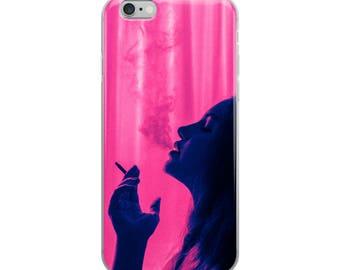 iPhone Case - Neon Lights Smoker Girl Art