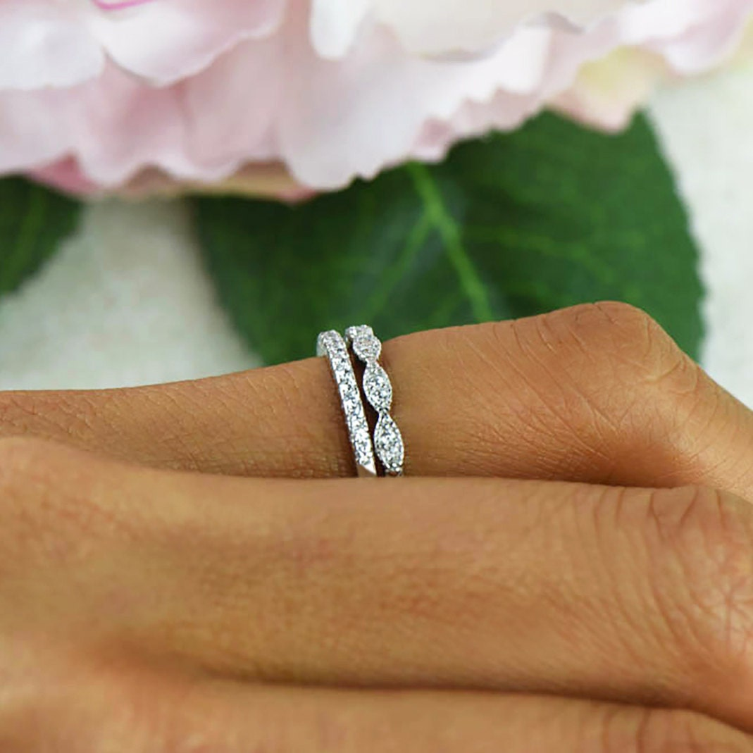 art deco wedding band and half eternity band thin stacking. Black Bedroom Furniture Sets. Home Design Ideas