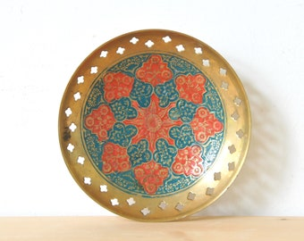 Vintage Indian dish, small enamel plate, ring dish, oriental plate, oriental dish, bohemian wedding ring dish, Indian enamel dish, CAS149