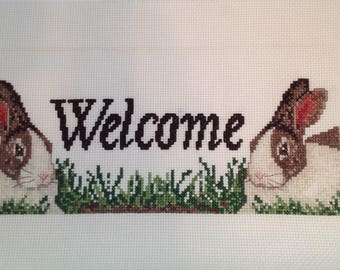 Cross Stitch Finished, Welcome, Home, Rabbits