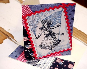Patriotic Greeting Card, Original Handmade American Flag Day Girl Everyday Note Card, Textile Art Fabric Collage Stationery itsyourcountry