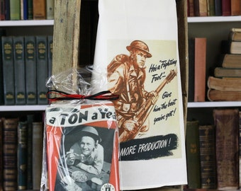 """Traditional Flour Sack Dishtowel with your choice of WWII Artwork (30""""x30"""", 100% cotton, individually wrapped)"""