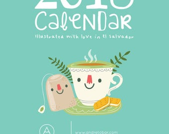 calendar 2018, illustrated calendar 2018, printable calendar,wooden, 2018, new year, cute illustrations by Andrea Tobar