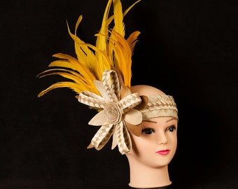 """Simple Tahitian & Cook Islands Headpiece. Weaved Palm, Lauhala And 8"""" - 10"""" Rooster Feathers. Perfect For All Ages! Choose Any Color."""
