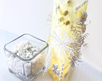 Yellow and White Luminary Centerpiece for Wedding or Party - Lighted Wedding Table Decor - colorful light decor - floral wedding centerpiece