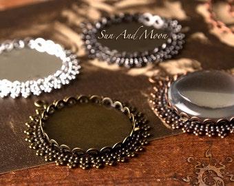 6 ~ 25mm Elegant Princess Bezel Settings NO Glass ~ DiY ~ Make Beautiful Photo Jewelry Keepsakes ~ Sun and Moon Original