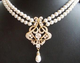 GOLD Wedding Necklace, Art Deco Bridal Necklace, GOLD Wedding Jewelry, Vintage Bridal Jewelry, Statement Bridal Necklace, ALESSANDRA