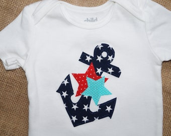 Nautical American Anchor and Stars Shirt or Bodysuit