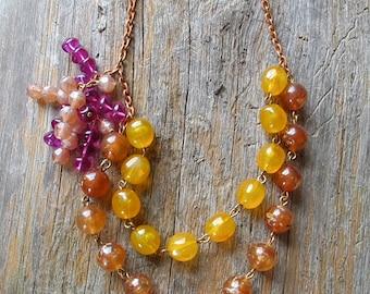 Bauble Necklace / Asymmetric Necklace / Beaded Necklace / Vintage 1960s / Colorful Necklace / Vintage Beaded Bauble Necklace / Bridesmaid