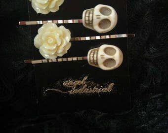 Skulls and Roses hair pins