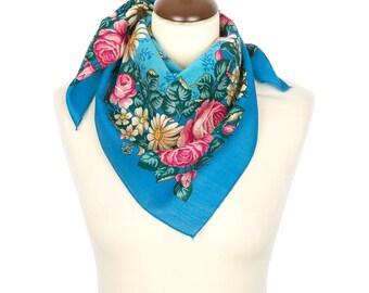 PAVLOVO POSAD SHAWL 100% Wool Russian Platok Kerchief Square Scarf Women's Wrap 72x72cm Cape Pashmina Headband Wrap Birthday Gift 1673-13