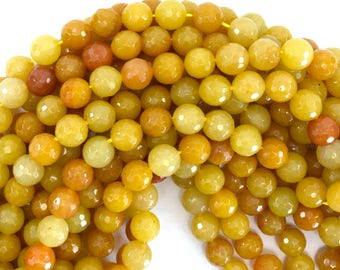 "10mm natural faceted yellow jade round beads 15"" strand 39230"