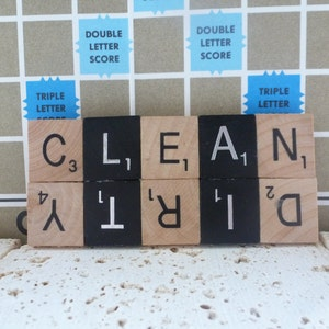 Black and Natural Scrabble Clean/Dirty Dishwasher Magnet, Dirty Clean Scrabble Magnet with Black Black Diamond Tiles