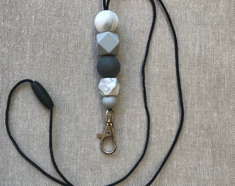 Silicone Lanyard grey and white marble