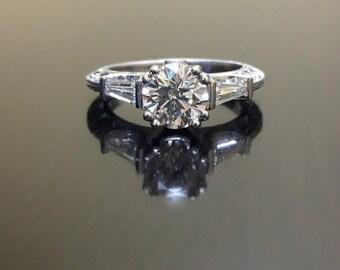 Art Deco Platinum Diamond Engagement Ring - Platinum Art Deco Diamond Wedding Ring - Hand Engraved Platinum Ring - Art Deco Diamond Ring