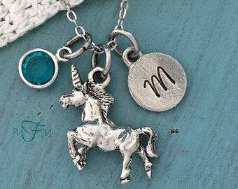 Unicorn Charm Necklace, Personalized Necklace, Silver Pewter Unicorn Charm, Custom Necklace, Swarovski Crystal birthstone, monogram