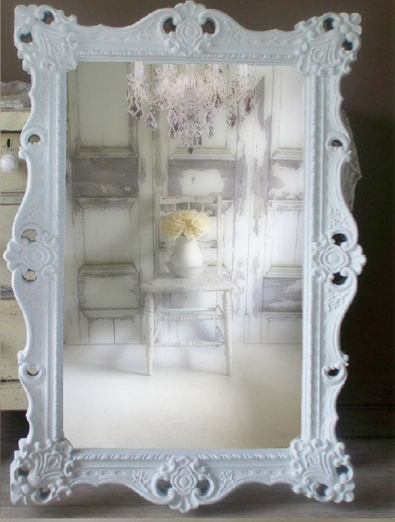 W h i t e baroque mirror extra large shabby chic mirror for Big white mirror