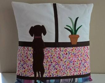 Dachshund Hand Crafted Felt Applique Cushion Cover