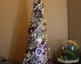 Vintage Jeweled Purple Christmas Tree Adorned with Rhinestones, Buttons, Silver, Crystals and Beads