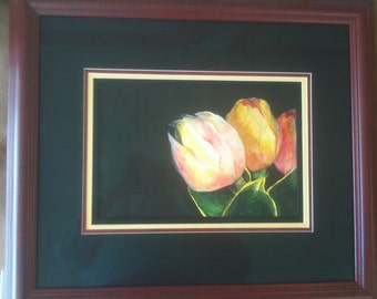 Tulip Toujours framed with museum glass-22x19