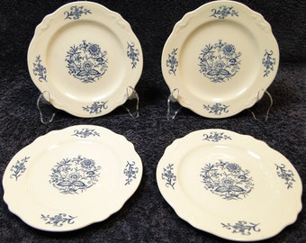 """FOUR Homer Laughlin Dresden Imperial Blue Bread Plates 6 5/8"""" Set of 4 EXCELLENT!"""