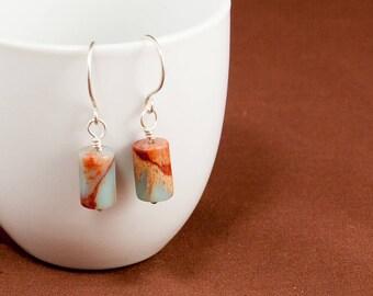 Aqua Terra Jasper, Dangle Earrings, Beige Earrings, Beach Earrings, Stone Earrings, Beach Earrings, Woman's Earrings, Simple Earrings, E160