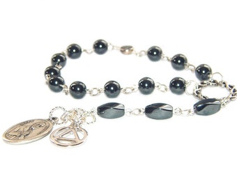 12 Step Recovery Beads, Meditation or Prayer Beads with Matt Talbot & Unity Medals