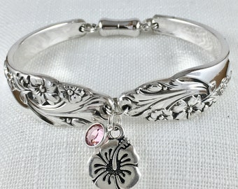 Spoon bracelet with charms and magnetic clasp