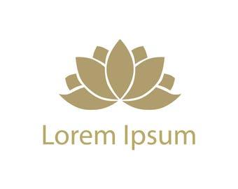 Instant download - DIY logo, PSD logo template, Photoshop template - Lotus Logo- Digital prints