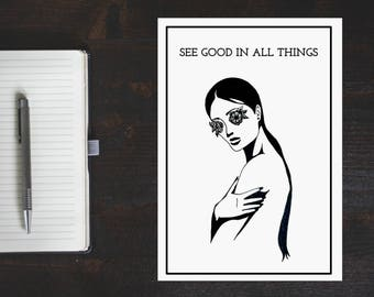 Modern, Minimal, Line, Drawing, Portrait, With, Quote, Word, Art, Print, See Good In All Things