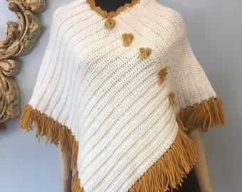 Vintage handmade fringed sweater cape poncho