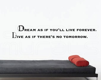 "Wall decals ""DREAM as if You'll live forever. LIVE as if there's no tomorrow"" Vinyl lettering for walls by Decals Murals"