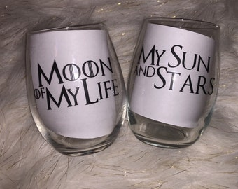 Game of Thrones Inspired Couples Stemless Wine Glass Set