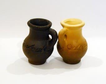 Set of 2 miniature pitchers, two pitchers, Miniature jugs, Ceramic pitchers, Vintage pitchers, not used, Brown jugs, ceramic small pitchers