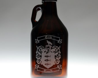 Custom Family Crest  HomeBrew Growler. Home brew,homebrew,beer gift,beer growler,growler,dad gift,father gift,brother gift