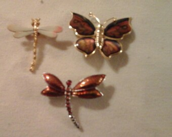 Butterfly and DragonFlies Brooches 3 in all
