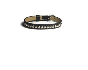 Studded Genuine Leather Wristband  -  Black Leather Bracelet - Studded Black Leather Buckle Bracelet - Adjustable Studded Leather Bracelet