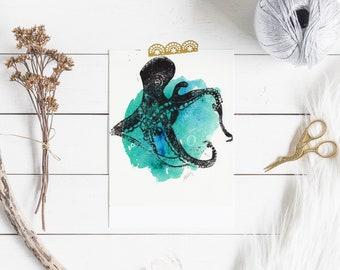 Poulpe unique couleur Lino coupé sur fond d'aquarelle (téléchargement numérique, 8 X 10)