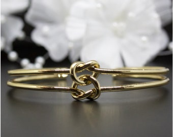Double Love Knot Gold Cuff Bangle, Gold-Tone Cuff Bangle, Thank You Gift, Birthday Gift, Graduations Gift | #G004