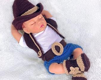 Baby cowboy photo prop baby cowgirl cowboy baby boy newborn cowboy baby costume crochet cowboy hat boots newborn cowboy hat sheriff baby