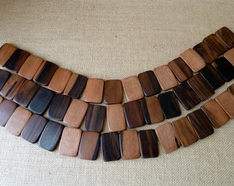 Large Multi Color Wood Rectangle Beads, Natural Tiger Ebony Wood, 23x34mm - Qty 8 pcs