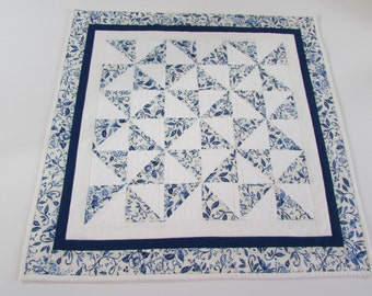 Quilted Square Table Topper - Blue and White floral prints always brighten up your kitchen