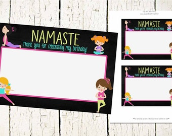 Yoga Thank You Card-INSTANT DOWNLOAD-Yoga Party