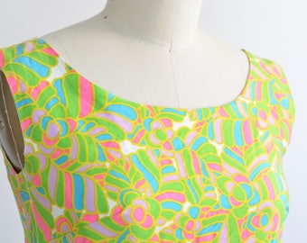 Womens Vintage 60s Sleeveless Shift Wiggle Dress | Cotton Sateen | Green and Pink psychedelic | Size 10 / Small