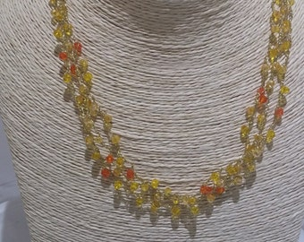 Colorful crochet Necklace, Swarovski crochet necklace, swarovski jewelry, gift for her, women gift ideas, gift for Christmas, From Israel,
