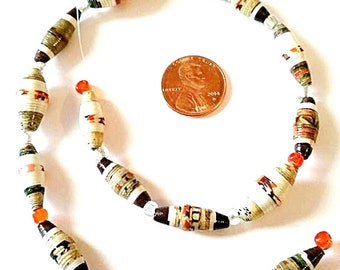 Unique Paper Beads - Handmade - Fall Colors - Strand of 16 - PM39