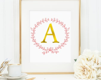 Personalized wreath initial wall art: first name initial, for nursery or girls bedroom, faux gold foil decor (Custom digital download - JPG)
