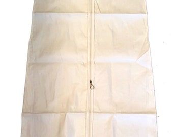 """Heavy Duty Premium Deluxe Wedding Gown Dress Garment Protector Cover Bag 72"""" White Cotton Canvas Extra Thick & Strong"""