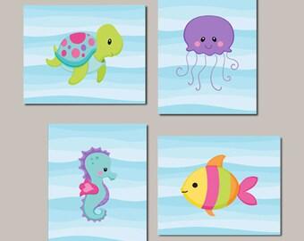 Sea Animals Wall Art, Prints Or Canvas, Girl Nursery Decor, Girl Bathroom, Turtle Fish Seahorse Jellyfish, Sea Animals Bathoom, Set of 4
